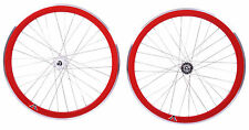 PAIR 700c 622-13 FLIP FLOP FIXIE WHEELS,NOVATEC SEALED HUBS DEEP WALL RIMS RED