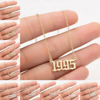 Special Date Year Number Necklace 1980-2019 Collares Pendant Birthday Gift