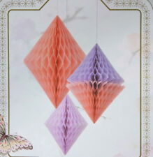 3 Suspensions diamants de papier roses neuves