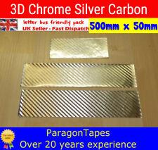 500mm x 50mm 3D CHROME SILVER CARBON FIBRE TEXTURED VINYL WRAP film Bike Tape