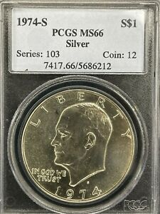 1974 S EISENHOWER PCGS MINT STATE 66 SILVER FREE SHIPPING