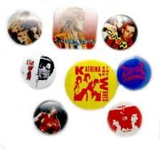 Vintage 1980s group of 8 music badges, CLASH U2 Mel & Kim Europe Rocky etc