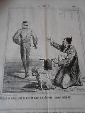 Caricature Litho 19èm Mendiant et son chien pas de recette avec ce chapeau !