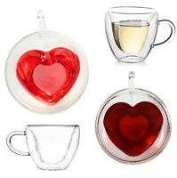 2 PC SET CLEAR GLASS DOUBLE WALL INSULATED 3D HEART SHAPED COFFEE CUP,MUG 8 OZ