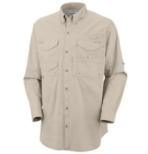 NEW COLUMBIA Men's PFG Bonehead Long Sleeve Shirt Fishing/Hiking Poplin Cotton