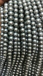 """GORGEOUS 9-10MM AAA+ NATURAL gray Tahitian PEARL NECKLACE 14K  GOLD 18"""""""