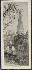 LÜNEBURG, St. Johannis-Kirche.  Originaler Holzstich ca. 1885
