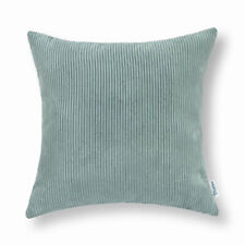Pack of 2 Duck Egg Square Pillows Cases Cushion Covers Corduroy Stripes 50X50cm