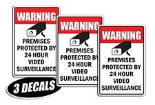 3 PACK - VIDEO SURVEILLANCE DECALS sticker decal label video warning cctv camera