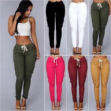 Women Drawstring Cargo Combat Pants Causal Stretch Skinny Slim Leggings Trousers