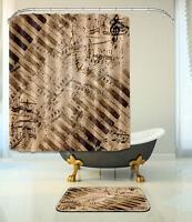 "72X72"" Shower Curtain Bathroom Mat Set Waterproof Fabric Decor Retro Music 236"