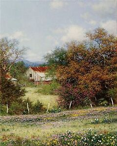 Hazy Day Print by Larry Dyke, Rustic Barns In A Country Setting