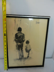 """Aldo Luongo Thick Framed Print """"Father and Son"""" 1970 12x16"""" Charcoal"""