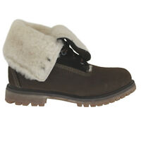 2e5219ebc6 Timberland Roll Top Shearling Womens Boot Brown Leather Lace Up 83385 U8