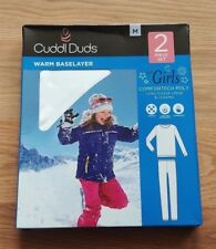 NWT Girl's CUDDL DUDS White Active Base Layer L/S Shirt Leggings 2 Pc Set M 7-8