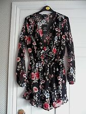 "NEWLOOK - Black Floral ""Chiffon feel""  Playsuit  Size 10 bnwts"
