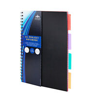 A4 Note Book Spiral Edge 160 Pages 4 Dividers Pad Project Book Black