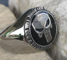 USMC PUNISHER MARINES SEALS NAVY US ARMY MILITARY RING STEEL SILVER GOLD PL D109