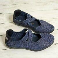 Bernie Mev New York Catwalk Blue Woven Casual Slip On Flats Size 36 Comfy Walk
