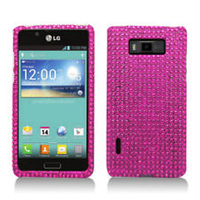 For LG Venice LG730 Crystal Diamond BLING Hard Case Phone Cover Hot Pink
