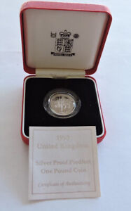 1995 Royal Mint Silver Proof Piedfort £1 Welsh Dragon Cased With COA