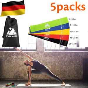 5 Set Fitnessbänder Fitnessband Sport Widerstandsband Gummiband Gymnastikband DE