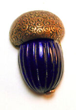 """Antique Glass & Brass Button With a Realistic Acorn Design - 1 & 1/8"""""""