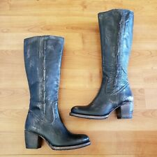 Bed Stu Womens Size 10 Black Distressed Leather Tall Zip Boots New READ