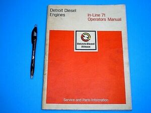 1973 DETROIT DIESEL IN-LINE 71 OPERATORS MANUAL SERVICE AND PARTS INFORMATION