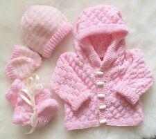 DK baby knitting pattern to knit girls hoodie jacket hat booties mittens set pop