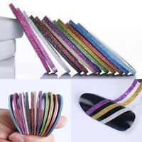 12 Rolls Mixed Colors Matte Glitter Striping Tape Line Sticker Nail Tips Decals