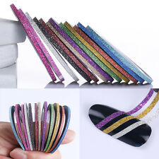 12Rolls Matting Glitter Nail Striping Tape Line Mixed Color Styling Tool Sticker