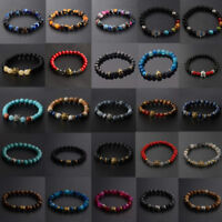 Men Women Owl Buddha head Helmet 8mm Natural Stone Gemstone Bead Bracelets Gift