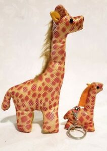 "Orange Yellow Shiny Toy Giraffe Stuffed Animal Plush Toy w/ Matching Keychain 8"""