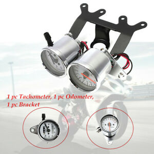 Stainless steel shell Motorcycle Odometer Tachometer With Bracket LED Backlight