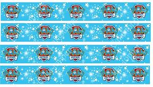 """4 x 1"""" Edible Icing Paw Patrol Cake Toppers Uncut Strips FAB FOR RIBBONS"""