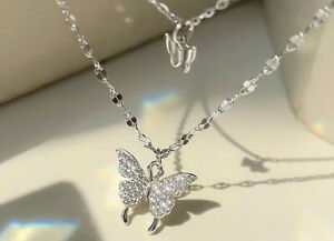 Double Layer Butterfly Pendant 925 Sterling Silver Chain Necklace Womens Jewelry
