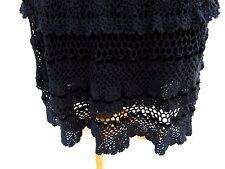 Karen Millen Black Heavy Crocheted 1970s Hippy Boho Skirt Size 1 Small 8 - 10