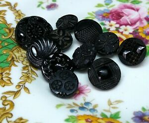 Vintage job lot of assorted carved and patterned black glass buttons