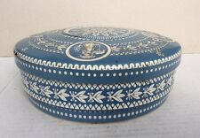 "8.25"" Dia Vintage Blue & White Embossed Container Tin or Sewing Box~Holland"