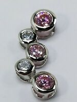 Women's Sterling Silver 925 Charm with Pink & White Stones Free Shipping! #80522