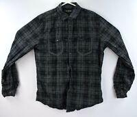 Express Mens Size Medium Rockabilly Shirt Snap Button Black Plaid Long Sleeve