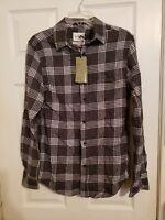 Goodfellow Standard Fit Grey Cross Hatch Button Front Shirt NWT Size SMALL