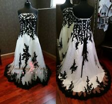 Gothic Tulle Wedding Dresses White Black Appliques Ball Gown Bridal Gown US Size