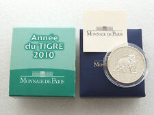 France 5 Euro 2010 Year of the TIGER Silver Proof Coin BOX + COA