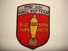 Vietnam War Patch US S-2, 3rd Bn 197th ARTY Regiment PHU LOI SHELL REP TEAM