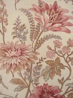 Antique French linen floral fabric curtain drape c1910 botanical fabric GORGEOUS