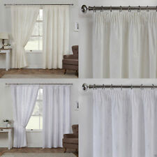 """Como Leaf/Floral Lined Ready Made Voile 3"""" Tape Top Pencil Pleat Curtains Pair"""
