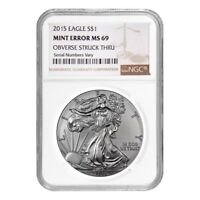 2015 1 oz Silver American Eagle NGC MS 69 Mint Error (Obv Struck Thru)