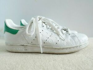 Womens Adidas Stan Smith Embossed Polka Dots White Sneakers Trainers sz 8